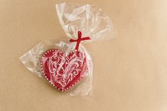Unique stylish red heart cookie, valentines day concept gift Stock Image