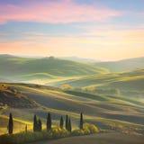 Unique Sundown tuscany landscape Stock Image