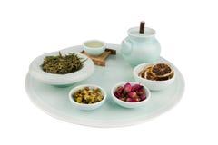 Unique Tea Set. Turquoise Tea Set isolated on a white background Royalty Free Stock Image