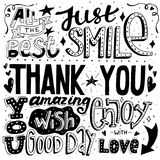Unique thankful card with hand drawn lettering and calligraphy with many phrases and words. Vector illustration. Unique thankful card with hand drawn lettering stock illustration