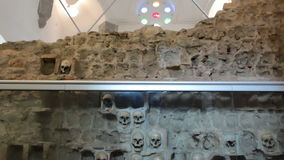 Unique tower of human skulls. Nisch,Serbia;7/9/2015.Monument from the First Serbian Uprising 1809. which was in retaliation by the Turkish authorities in Serbia stock video