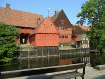 Unique Traditional Architecture in the Open-air Town Museum Den Gamle By, Aarhus Stock Images