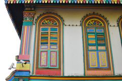 Unique traditional colorful windows in Little India, Singapore. Colorful facade of building in Little India, Singapore which is deep in traditional culture value Stock Image