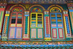 Unique traditional colorful windows in Little India, Singapore. Colorful facade of building in Little India, Singapore which is deep in traditional culture value Royalty Free Stock Photos
