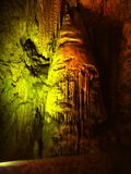 Stalactites Cave, Unique Colorful Karst Cavern. Colorful lights in unique stalactites cave. Karst Cavern - Gibraltar Rock Stock Photography