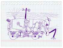 Unique underwater robot-car. Sketch by seven year old boy. illustration Stock Photo