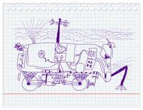Unique underwater robot-car. Sketch by seven year old boy. illustration Vector Illustration