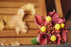 Unique and unusual autumn fall wedding bouquet royalty free stock photo