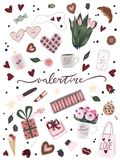 Unique valentine`s day poster with valentine hand drawn art, flower, coffee cup, heart, star, chocolate candy, cookie, ice cream. Unique valentine`s day poster stock illustration