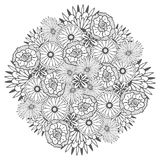 Unique vector mandala with flowers. Ornamental round floral zentangle for coloring book pages Stock Image