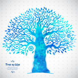 Unique vector watercolor ethnic tree of life Stock Image