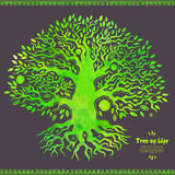 Unique vector watercolor ethnic tree of life Royalty Free Stock Photo