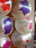Unique VIETNAM style hats painted for sale in souvenir shop. Near world cultural heritage place in HUE city of VIETNAM for foreigner site seeing tourist to buy Royalty Free Stock Photos