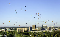 Unique view of Boise Idaho with Hot Air Balloons. Sky filler wioth hot air balloons over Boise Idaho Royalty Free Stock Photo