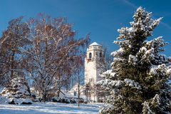 Unique view of the Boise train Depot in winter Stock Image