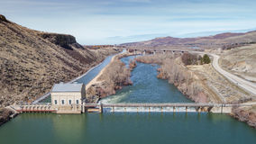 Unique view of the Diversion Dam on the Boise River High water Stock Images