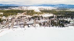 Aerial view of McCall Idahi in winter from the lake side stock photos