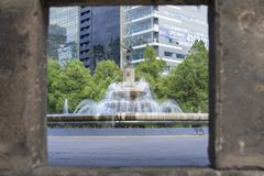Unique view of the Fountain of Diana the Hunter in Mexico City stock image
