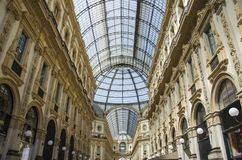 Unique view of Galleria Vittorio Emanuele II seen from above in Milan in summer. Built in 1875 this gallery is one of stock photos