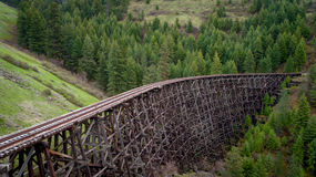 Unique view of a historic train trestle and forest Stock Photography