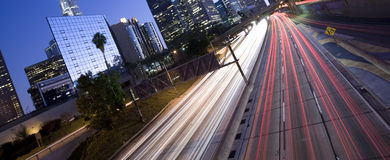 Unique view of Los Angeles highway traffic Stock Photography