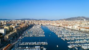 Aerial view of Marseille`s old port Royalty Free Stock Photo