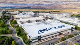 Unique view of Micron with name on top of building Stock Photos