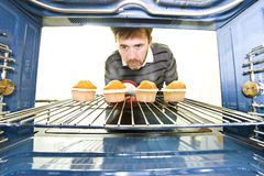 Unique viewpoint from inside an oven Royalty Free Stock Photos