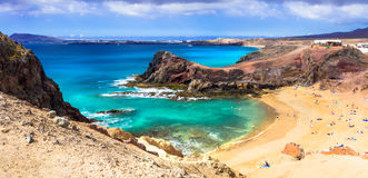Unique volcanic island Lanzarote - beautiful beach Papagayo, Can Stock Photography