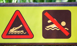 Unique warning sign for crocodiles. Unique warning sign crocodiles in area don't go in water Stock Image