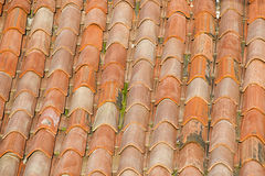 Unique, weathered terracotta roof background Royalty Free Stock Images