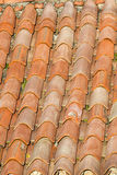 Unique, weathered terracotta roof background Royalty Free Stock Photos
