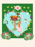 Unique wedding invitation with cute cartoon fruit tree and carrot vector illustration