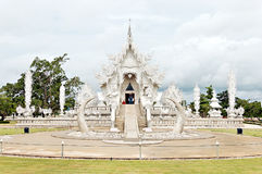 Unique white buddha temple in Thailand royalty free stock photography