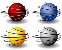 Unique Wire Sphere Balls Logo Stock Image