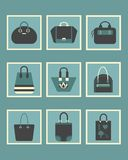 Unique women blue purse square icons set Royalty Free Stock Image