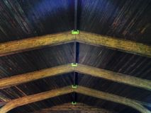 Unique wood ceiling of a man made structure Royalty Free Stock Photography