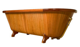 Unique wooden bathtub,. Unique made by hand wooden bathtub on white background clipping path Royalty Free Stock Photography