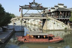 An unique wooden bridge at Tongli stock image