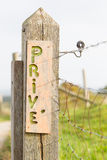 Unique wooden sign, private (prive) Royalty Free Stock Photos