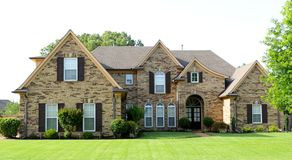 Uniquely Beautiful Suburban Middle Class Home. A Uniquely Beautiful Middle Class Home on the housing market in a suburban area on the outskirts of Memphis stock photo