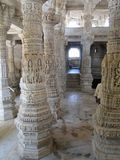 Uniquely carved columns in the mandap Stock Image