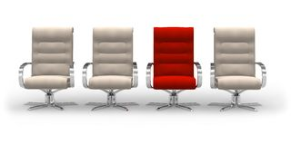 Uniqueness concept. Red stylish chair within beige ones royalty free illustration