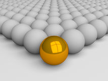 Uniqueness concept. Golden ball among grey balls stock illustration