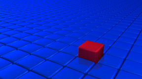 Uniqueness Cube. Innovation and uniqueness concept represented by red cube color and position. There's no one like you Royalty Free Stock Images