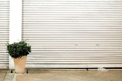 Break the uniqueness. The uniqueness of the garage doors is interrupted by a green bush in between Royalty Free Stock Photos