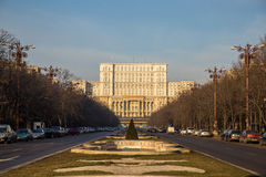 Unirii Boulevard leading to Parliament, Bucharest. Unirii Boulevard leading to romanian Parliament in Bucharest, Romania, called House of the People (Casa Stock Image