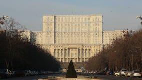 Unirii Boulevard leading to Parliament, Bucharest stock video footage