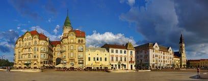 Unirii Square in Oradea - Black Eagle Palace panorama royalty free stock photo