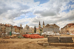 Unirii Square in Timisoara, Romania - restauration work Royalty Free Stock Photo